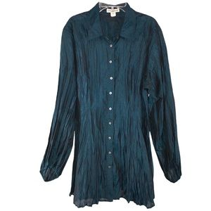 GORGEOUS Emerald Green Shimmer Tunic Blouse